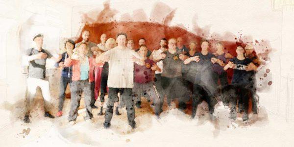 Gruppenbild mit Wassermalfarbe-Effekt